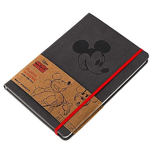 CYSJ 1 PCS Mickey Mouse - Moving Bloc de Notas, Cuaderno de Notas A5 Con Tapa Dura, Cuaderno de Cuero Vintage Diario de Viaje Recargable Bloc de Notas, Para Registros Diarios - Gris