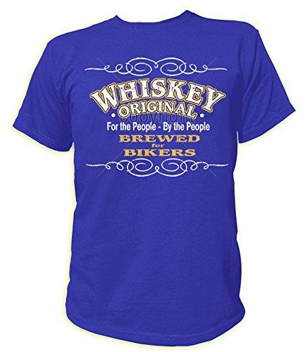 Artdiktat T-Shirt des Hommes Whiskey Original - for The People by The People - Brewed for Bikers - Biker Größe L, Blau