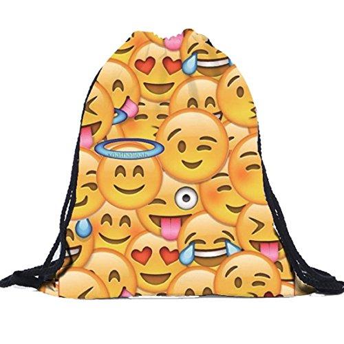 Tongshi Unisex Emoji mochilas de impresión 3D Bolsas del morral del lazo