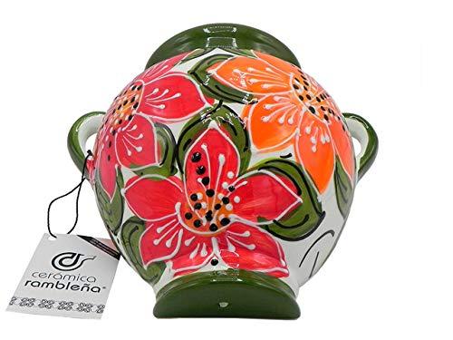 Ceramic Rambalena | Vaso da appendere in terracotta | Vaso da parete | Verde e Bianco | 100% Decorato a mano | 24 x 24 x 16 cm