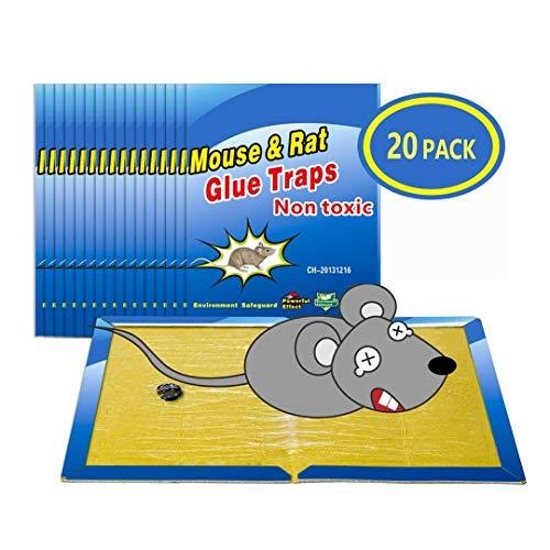 Wemk Trampas para Ratones 20 Piezas Almohadilla Pegajosa de Ratón Colector de Ratón Control de Ratones Súper Pegajoso 8 x12