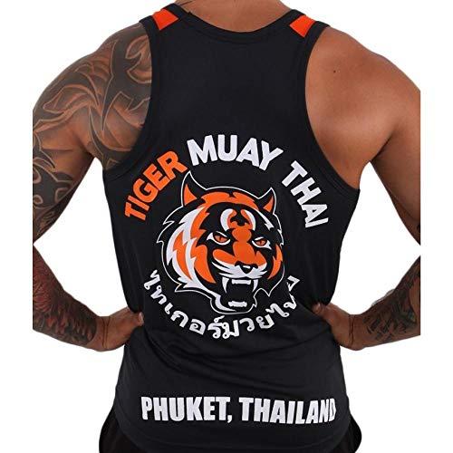 T-Shirt Black Tiger Muay Thai Trainingsweste Atmungsaktiv Saugfähig Muay Thai Clothingshort Boxshorts Jaco Short-Schwarz_XXL