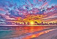 GooEoo 10x8ftトロピカルビーチサンセットビュー沿岸波フォームパーティー写真撮影写真背景アダルトスタジオ小道具家族パーティー誕生日背景ベビーシャワー装飾ビニール素材