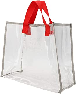 Clear Tote Bag, Waterproof Large Clear PVC Tote Bags, Transparent Handbag Beach Bag Portable Clothes Storage Packet for St...