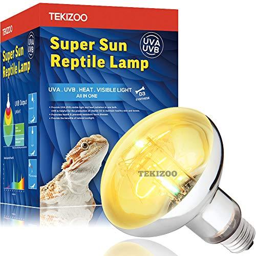TEKIZOO UVA UVB Sun Lamp High Intensity Self-Ballasted Heat Basking Lamp/Light/Bulb for Reptile and Amphibian(80W)