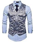 DressUMen Sencillo Doble - traje cruzado de negocios del chaleco del...