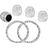 4PCS Crystal Rhinestone Universal Stem Covers with 2Pcs Car Decor Crystal Rhinestone Bling Sticker Emblem Ring for Car Engine Ignition Button Key & Knobs, Unique Gift (Silver)