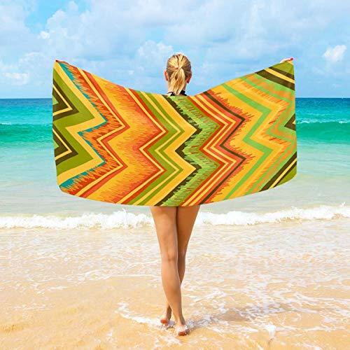 Jacklee Strandtücher Zig Zag Lijnen Chevron Kleurrijke groß Mikrofaser für Erwachsene Kinder 94 x 188 cm schnell trocknend leicht super saugfähig Reisehandtuch