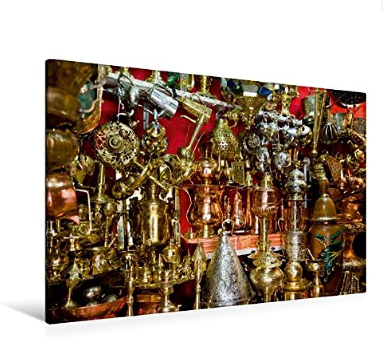 Calvendo Premium Textil-Leinwand 120 cm x 80 cm quer, Opulente Pracht im Souk von Marrakesch.   Wandbild, Bild auf Keilrahmen, Fertigbild auf echter Leinwand, Leinwanddruck Orte Orte