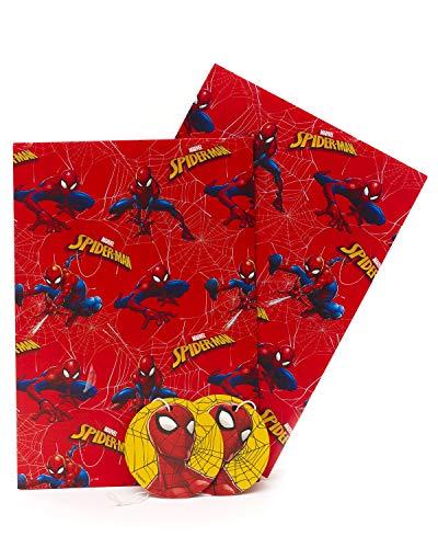 Spiderman Geschenkpapier – Geschenkpapier für Geburtstagskind – Geschenkpapier Bögen – 2 Bögen 2 Geschenkanhänger