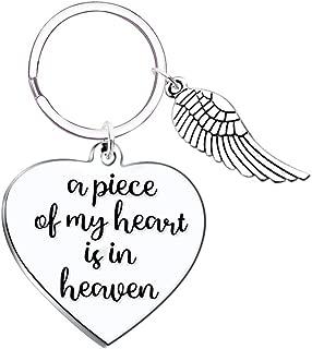 A Piece of my Heart is in Heaven Angel Wings Memorial Keychain Sympathy Gift