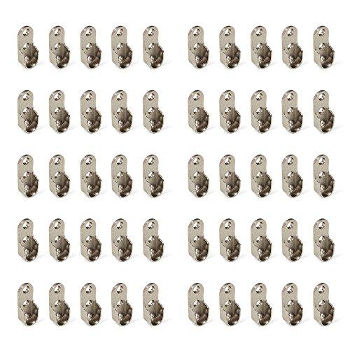 Emuca 7065207 Seitliche Stütze für ovale Kleiderschrank Stange, Zamak 50 Stück, Vernickelt