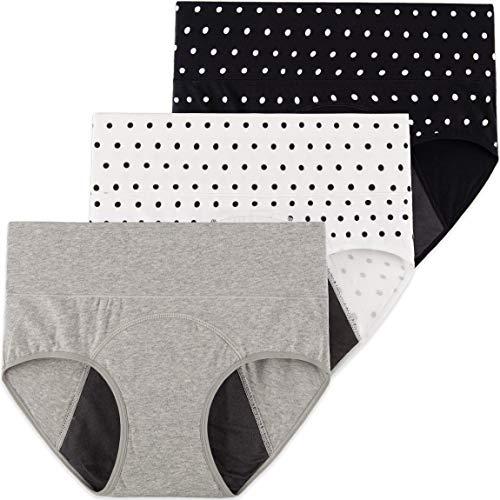 INNERSY Perioden Unterwäsche Baumwolle Menstruation Slip Kaiserschnitt Unterhose 3er Pack (48, Punktdruck)