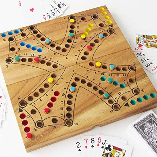 TOC Spiel oder TOCK, 2-4 Spieler, Brettspiel aus umweltfreundlich Massivholz entspricht den CE Normen. Marke Le Délirant. Einfache Aufbewahrung zum Mitnehmen oder auf Reisen. Kleine kanadische Pferde.
