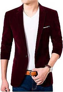Men's One Button Royal Blue Velvet Blazer Peak Lapel Suit Jacket Slim Fit Casual Coat