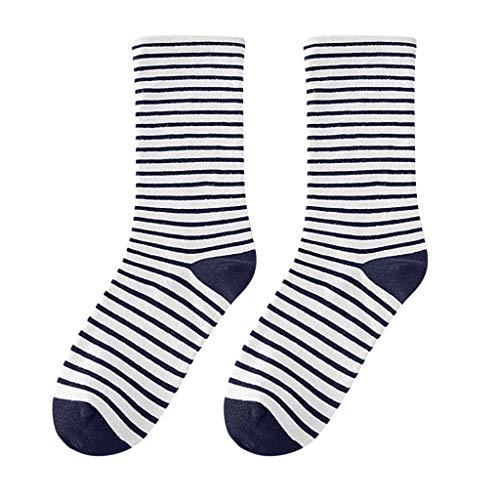 LABIUO Damen-Socken Baumwollsocken Thermosocken Retro-Stil-Streifen-Mid-Tube-Socken(Marine,freie Größe)