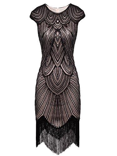 Fairy Couple 1920er-Flapper-Kleid mit Paillettenverzierung und Quastensaum FD20S002 Gr. Medium, Dunkelbeige+schwarz