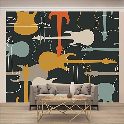 ZSZHI 3D Wall Mural for Living Room Peel and Stick Wallpaper - Color Music Musical Instruments Guitars - Large Self Adhesive Wall Art Removable Modern Artwork Print Sticker Home Decor