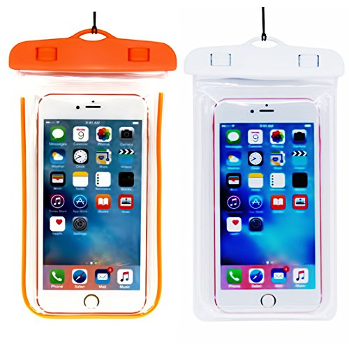 (2Pack) Universal Waterproof Phone Case, IPX 8 Phone Pouch Dry Bag Neck Strap Compatible with iPhone XR X XS MAX/8 Plus/8/7/6S Plus, Samsung Galaxy S9,S8 S8 Plus, up to 6.5' Diagonal - Orange+White