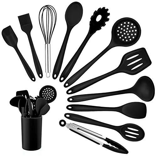 Homikit Silikon Küchenhelfer Set, 12 Stück Schwarz Kochutensilien Kochgeschirr, Hitzebeständiger Kochbesteck Set mit Utensilienhalter, Gesund & Antihaft, Spülmaschinengeeignet