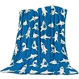 Manta de Franela para sofá Cama de tiburón Blanco patrón de Animal Fresco Suave Manta Ligera y acogedora para Adultos / niños