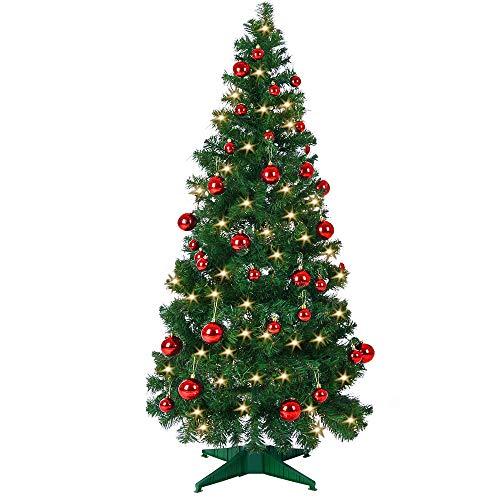 Deuba Weihnachtsbaum 150 cm Ständer LED Lichterkette Pop Up künstlicher Tannenbaum Christbaum Baum Tanne Weihnachten Grün PVC