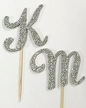 10 Silver Glitter Monogram Letter Initial Birthday Wedding Cupcake Topper Favor (M (10 pack))