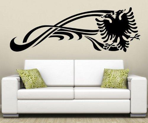 myDruck-Store Wandtattoo albanischer Adler Albanien Shqiponjë Tattoo Wandbild Aufkleber 5U003, Farbe:Schwarz Glanz;1x Länge:140cm
