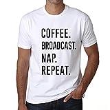 One in the City Coffee Broadcast Nap Repeat, Camisetas para Hombre, Camisetas con Palabras, Camiseta Regalo