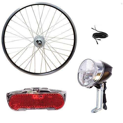 Saiko/Euroline Schürmann 26 Zoll Vorderrad Laufrad Shimano Nabendynamo Komplettset mit Vorderlicht, Rücklicht und Dynamokabel