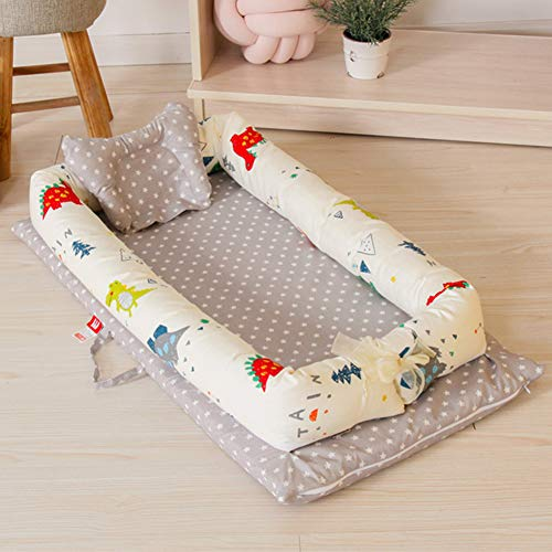 Baby Newborn and Infant Lounger, Portable Bassinet, Nest for Cosleeping - Breathable & Hypoallergenic - 100% Cotton Portable Crib for Newborn 0-24Months Dinosaur