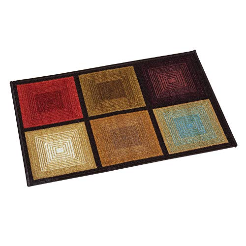 Collections Etc Optic Squares Skid-Resistant and Nonslip Accent Rug with Burnished Autumn Red, Brown and Beige, Brown, 26 X 45