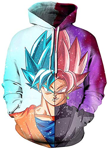 Sudadera unisex Dragon Ball z con capucha con capucha y estampado 3D Goku Naruto con capucha
