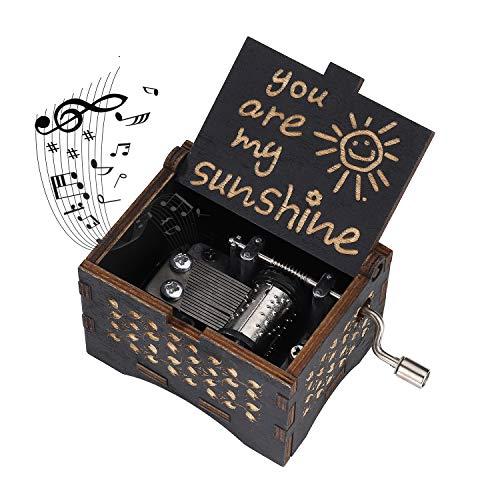 Heveer Caja de Música de Manivela de Madera Caja Musical Tallada a Mano del Tema Retro Mejor Regalo para Pareja Niños Amigos Negro