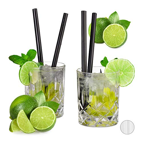 Relaxdays, schwarz Profi Gastro Strohhalme 50er Set, Cocktail, Party, extrem starker Kunststoff, 10 mm Ø, 20 cm lang, Standard