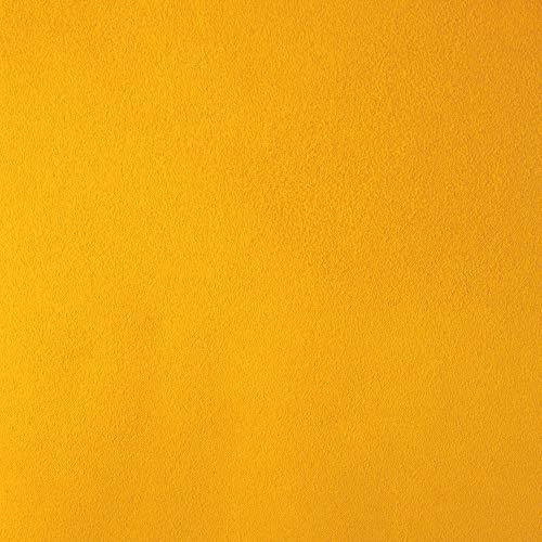 DESHOME Teknofibra - Tessuto al Metro in Microfibra Antimacchia scamosciato stoffa per divani, cuscini, tappezzeria (Giallo, 1 metro)