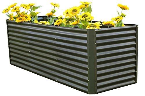OUTFLEXX Hochbeet-Set aus Zinkalume in Anthrazit, ca. 180+80 cm, Frühbeet mit Erweiterung, großes Blumenbeet & Pflanzentrog