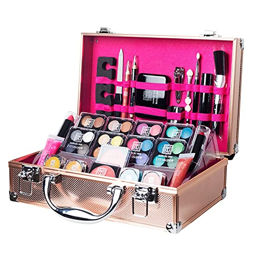 Dawn Till Dusk by Envie 54 Piece Make Up Set and Travel Makeup Organiser Storage Box - Makeup Organiser Comes With Make Up Kit, Compact Mirror and Much More (Rose Gold)