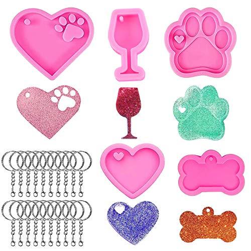 25 Pcs Molde Silicona Resina en Forma de Pata de Mascota Forma de Corazón Forma de Hueso de Perro...