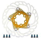 Disco Freno per Bicicletta da Mountain Bike Dischi di Raffreddamento Flottanti 5 Perni 140Mm Accessorio per Ciclismo ( Dorato )