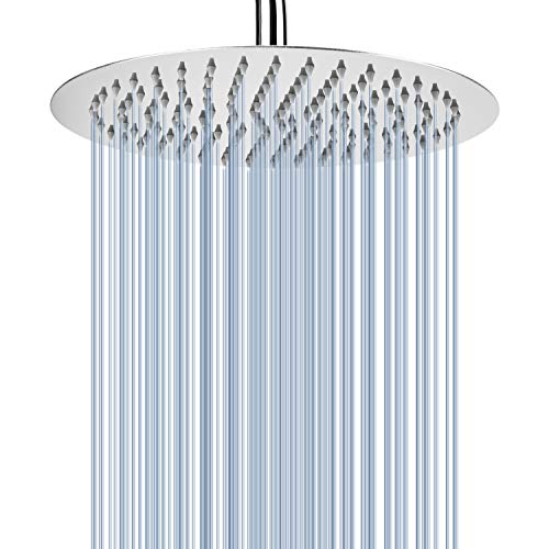 Voolan Rain Shower head, High Pressure Shower Head Made of 304 Stainless Steel, Relaxed Shower Experience Even at Low Water Flow & Pressure (10 Inch, Chrome)