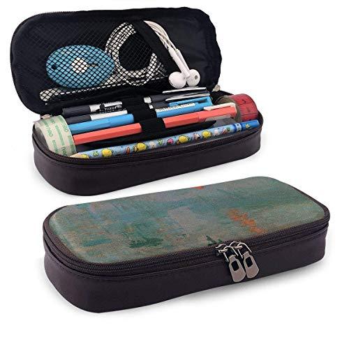 HFHY Impression Sunrise Leder Bleistiftetui Make-up Bleistiftbeutel Schreibtisch liefert Organizer Bleistifthalter mit Reißverschluss