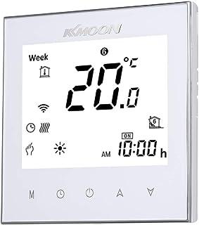 Termostato Inteligente para Caldera de Gas,Wifi Regulador de Sistema,Controlador con Pantalla Negativa Táctil LCD,Programable 5A AC 95-240V (WIFI, blanco)
