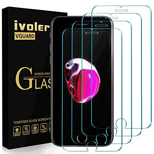 ivoler Pack de 4 Verre Trempé pour iPhone Se 2020 / iPhone Se 2, iPhone 8/7 / 6S / 6, Film Protection écran en Verre trempé - sans Bulles d'air -Ultra Résistant Dureté 9H