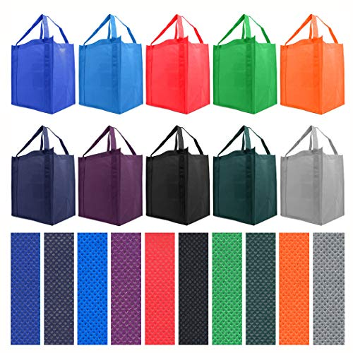 Simply Green Solutions Reusable Reinforced Handle Grocery Tote Bag Large 10 Pack  10 Color Variety