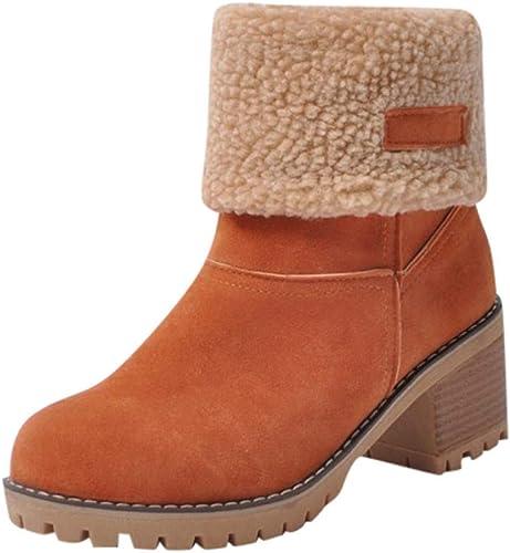 ZHRUI Schuhe Damen Stiefel Freizeitschuhe Winterstiefel Stiefeletten Kurze Stiefel Frauen Winterschuhe Flock Warme Martin Schneeschuhe Kurze Stiefelette (Farbe   Orange, Größe   39 EU)