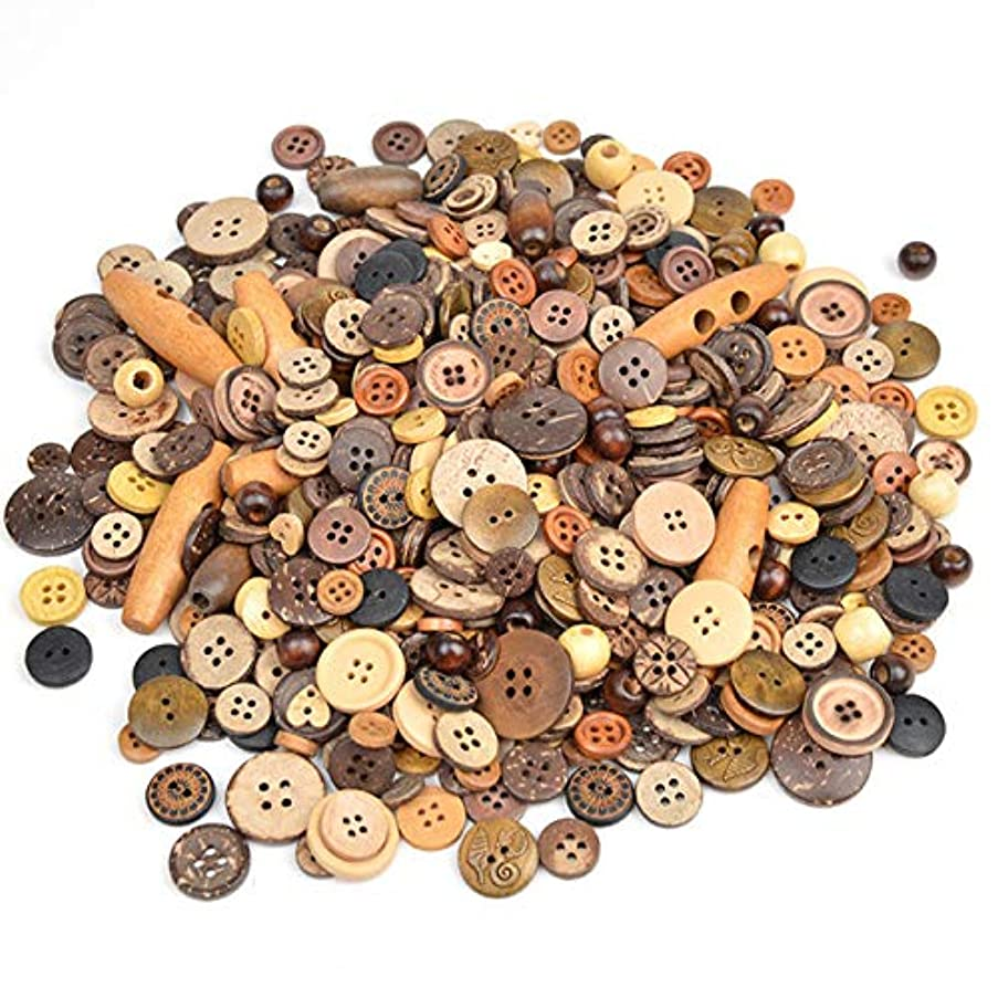 Maslin Pulaqi 600pcs/lot Mix Size Colorful DIY Scrapbooking Cartoon Buttons Resin Buttons Children's Garment Sewing Notions DIY Decor H - (Color: Wood Coconut Buckle, Size: Mix Size)