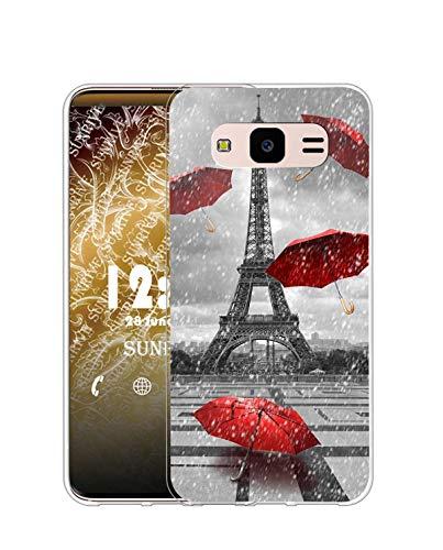 Sunrive Cover Compatibile con Samsung Galaxy J5 2015, Custodia Case in Molle Trasparente Silicone Morbida Flessibile AntiGraffio Protettiva Back custodie(Q Torre di Ferro)