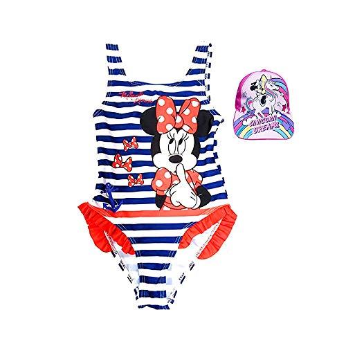 Pack Especial Bañador Minnie Mouse para niñas + Gorra con Visera Unicornio, Ideal para Playa o Piscina. Nueva Temporada Disney (4-5 Años)