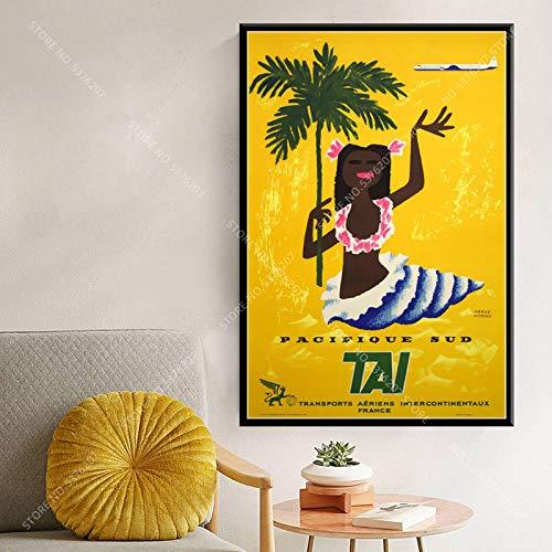 JLFDHR Druck auf Leinwand 60x80cm ohne Rahmen Surfen bei Tahiti Holiday Pop Vintage Retor Art Travel City